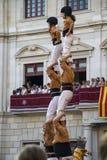 Torre umana eseguita dai castellers Immagini Stock