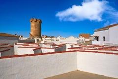 Torre Valencia de Paterna y chimeneas de las casas de la cueva fotos de archivo