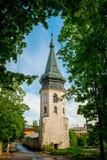 Torre velha bonita com um telhado triangular Imagem de Stock Royalty Free