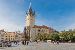 Torre velha da câmara municipal em Praga fotografia de stock royalty free