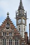 Torre velha da estação de correios em Ghent, Bélgica Imagens de Stock Royalty Free