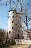 Torre vieja de la bruja en Sion, Suiza Fotografía de archivo