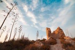 Torre vieja en la silla de montar del diablo en la capital de Cerdeña Fotos de archivo libres de regalías