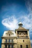 Torre y banco de reloj de Ginebra fotografía de archivo