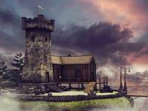Torre y puente de la fantasía ilustración del vector