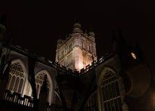 Torre y reloj de la abadía del baño en la noche, mirando del norte Foto de archivo libre de regalías