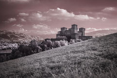 Torrechiara城堡红外线视图 库存照片