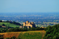 Torrechiara Castle. A birdseye view of the beautiful Torrechiara Castle and surroundings in Parma, Italy royalty free stock photos