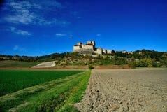 Torrechiara castle Italy. Torrechiara castle and landscape, Parma, Italy Royalty Free Stock Photo