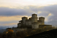 Torrechiara Castle after a storm Royalty Free Stock Photography