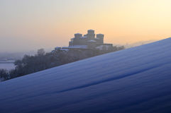 Torrechiara Castle on winter #3 Royalty Free Stock Photo