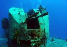 Torrecillas de arma rusas del buque de guerra Fotos de archivo