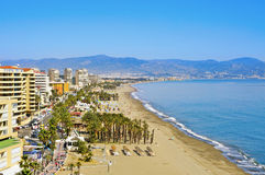 Torremolinos, Spain. MARCH 13: Bajondillo Beach on March 13, 2012 in . This popular beach is about 1,100 meters long and 40 meters average width Stock Photography