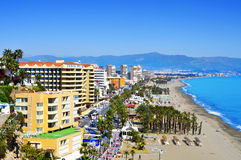 Torremolinos, Spain. MARCH 13: Bajondillo Beach and ocean front walk on March 13, 2012 in . This popular beach is about 1,100 meters long and 40 meters Royalty Free Stock Photography