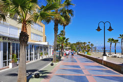 Torremolinos, Spain. MARCH 13: Ocean front walk and Bajondillo Beach  on March 13, 2012 in . This popular beach is about 1,100 meters long and 40 meters Royalty Free Stock Photography