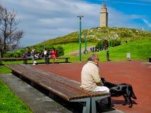Torren de Hercules i staden av La Coruña i Galicia, Spanien Royaltyfri Bild