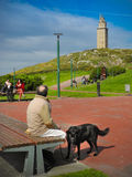 Torren de Hercules i staden av La Coruña i Galicia, Spanien Royaltyfri Fotografi