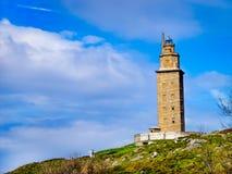 Torren de Hercules i staden av La Coruña i Galicia, Spanien Arkivfoton