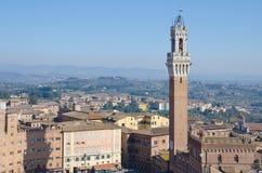 Torren del Mangia och Piazza del Campo, Siena Arkivfoton