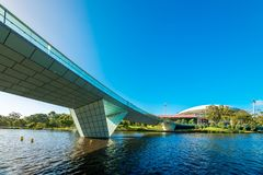 Torrens foot bridge and Adelaide Oval viewed across river Stock Photo