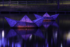 Torrens at night. Illuminated boats on the river torrens Stock Photography