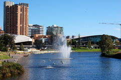 Torrens River, Adelaide city, Australia. As South Australia's seat of government and commercial centre, Adelaide is the site of many governmental and financial Royalty Free Stock Photos