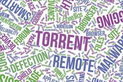 Torrent, conceptual word cloud for business, information technology or IT. Torrent, IT, information technology conceptual word cloud for for design wallpaper Royalty Free Stock Image