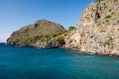 Torrent de Pareis - Bucht Sa Calobra in Majorca Lizenzfreie Stockbilder
