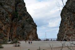 Torrent de Pareis, Sa Calobra. The gorge of Sa Calobra, Mallorca, Spain, is a famous tourist attraction Royalty Free Stock Photo