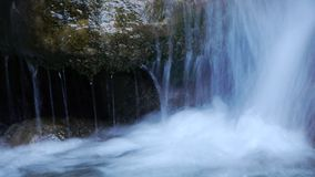 Torrent turquoise waters. Natural pool in the river Lenteji, south of Andalusia stock footage