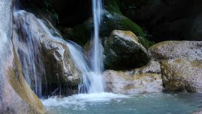 Torrent turquoise waters. Natural pool in the river Lenteji, south of Andalusia stock video