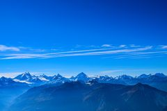 View on the Torrenthorn on a sunny autumn day, seeing the swiss alps, Switzerland / Europe stock photography
