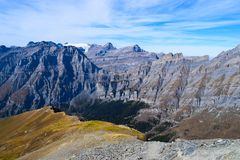 View on the Torrenthorn on a sunny autumn day, seeing the swiss alps, Switzerland / Europe royalty free stock images