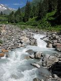 Torrential glacier milk river on a sunny day making its way to the valley. Glacier milk river on a sunny day making its way to the valley royalty free stock image