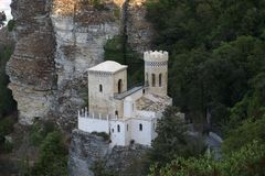 Torreppa Pepoli, Erice. In the Moorish style, the Torreppa Pepoli, was built in 1970 for the will of Count Agostino Pepoli, in Erice, Sicily Royalty Free Stock Photo