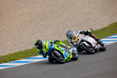 Torres and Arcas pilot of MOTO2 in the CEV Royalty Free Stock Photography