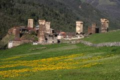 Ushguli da vila Foto de Stock Royalty Free