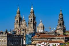 Torres da catedral em Santiago de Compostela, Espanha Imagem de Stock