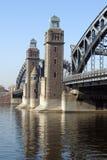 Torres da ponte grande de Ohta em St Petersburg Foto de Stock
