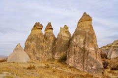 Torres da rocha em Cappadocia Fotos de Stock
