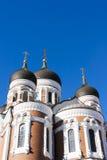Torres de Aleksander Nevski catherdral em Tallinn, Estônia Imagem de Stock Royalty Free