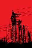 Torres de la terminal de la línea eléctrica imagen de archivo libre de regalías