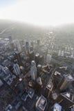 Torres de Los Ángeles y antena de la tarde de la niebla con humo Fotografía de archivo