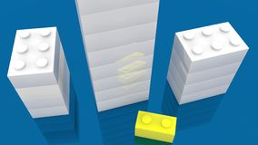 Torres de los ladrillos del juguete en los colores blancos y amarillos libre illustration