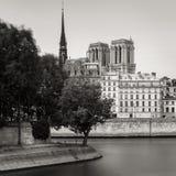 Torres de Notre Dame de Paris Cathedral y banco de río Sena Fotos de archivo