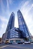 Torres de plata en Manhattan Fotos de archivo libres de regalías