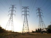 Torres de potencia triples Imagenes de archivo