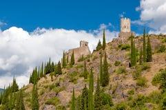 Torres de Quertinheux e de Surdespine da parte inferior em Lastours Foto de Stock Royalty Free