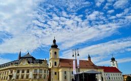 Torres de Sibiu, Rumania Imágenes de archivo libres de regalías