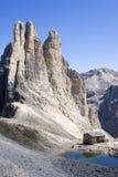 Torres de Vajolet - dolomía Imagen de archivo